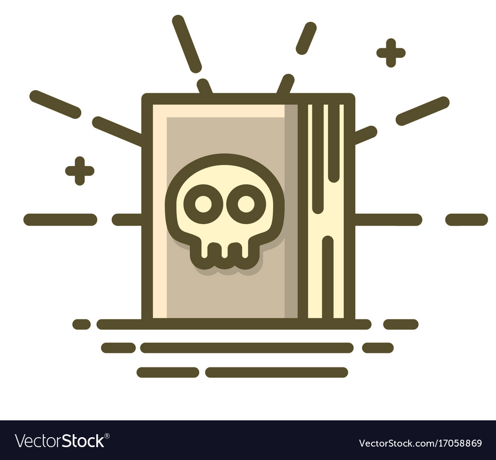 Book with terrible skull on cover halloween icon