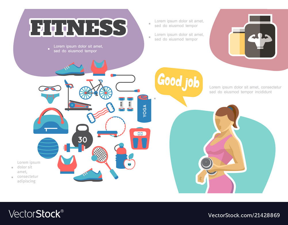 Flat fitness infographic concept