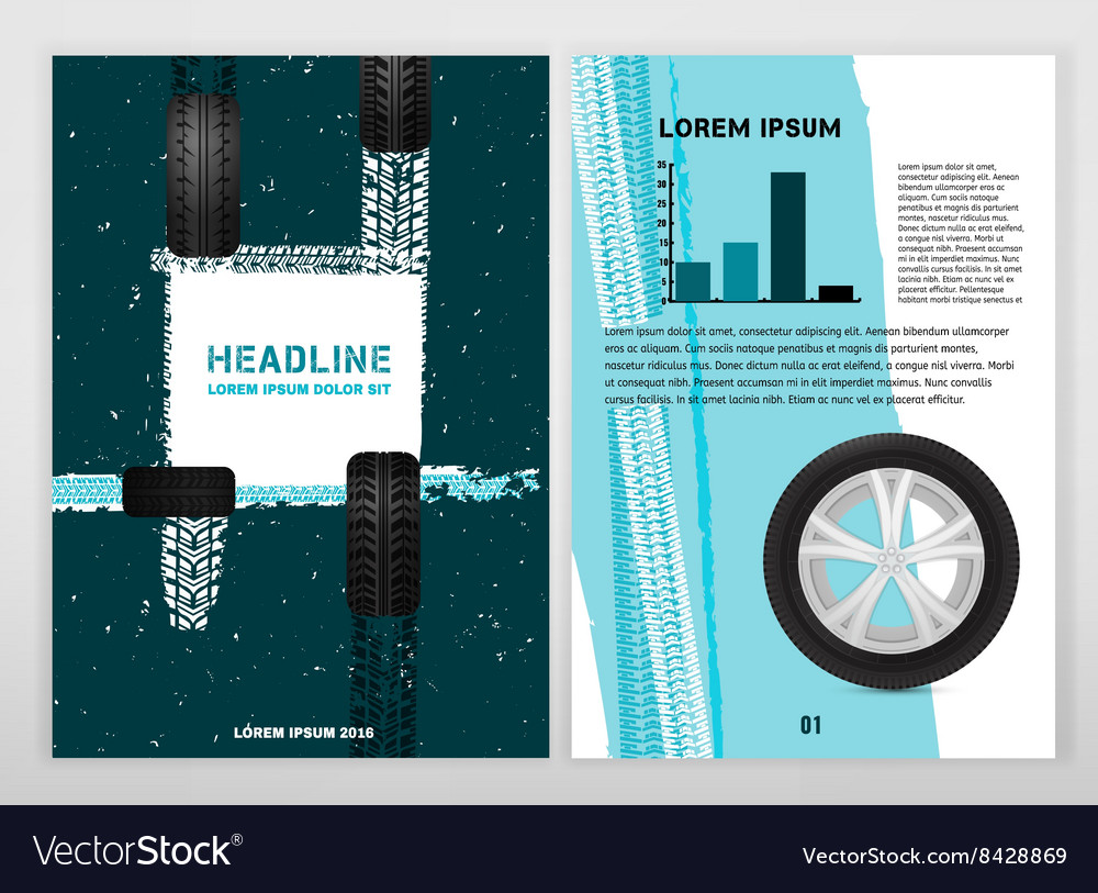 Grunge Tire A4 template 01 A vector image