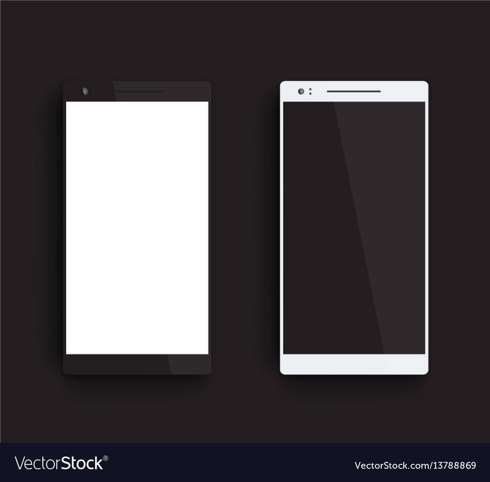 Mockups with black and silver smartphones