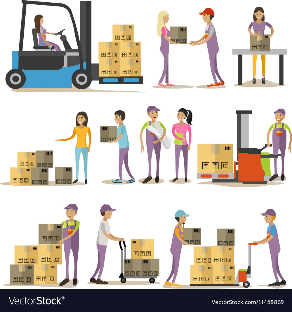 Set of delivery man characters isolated on