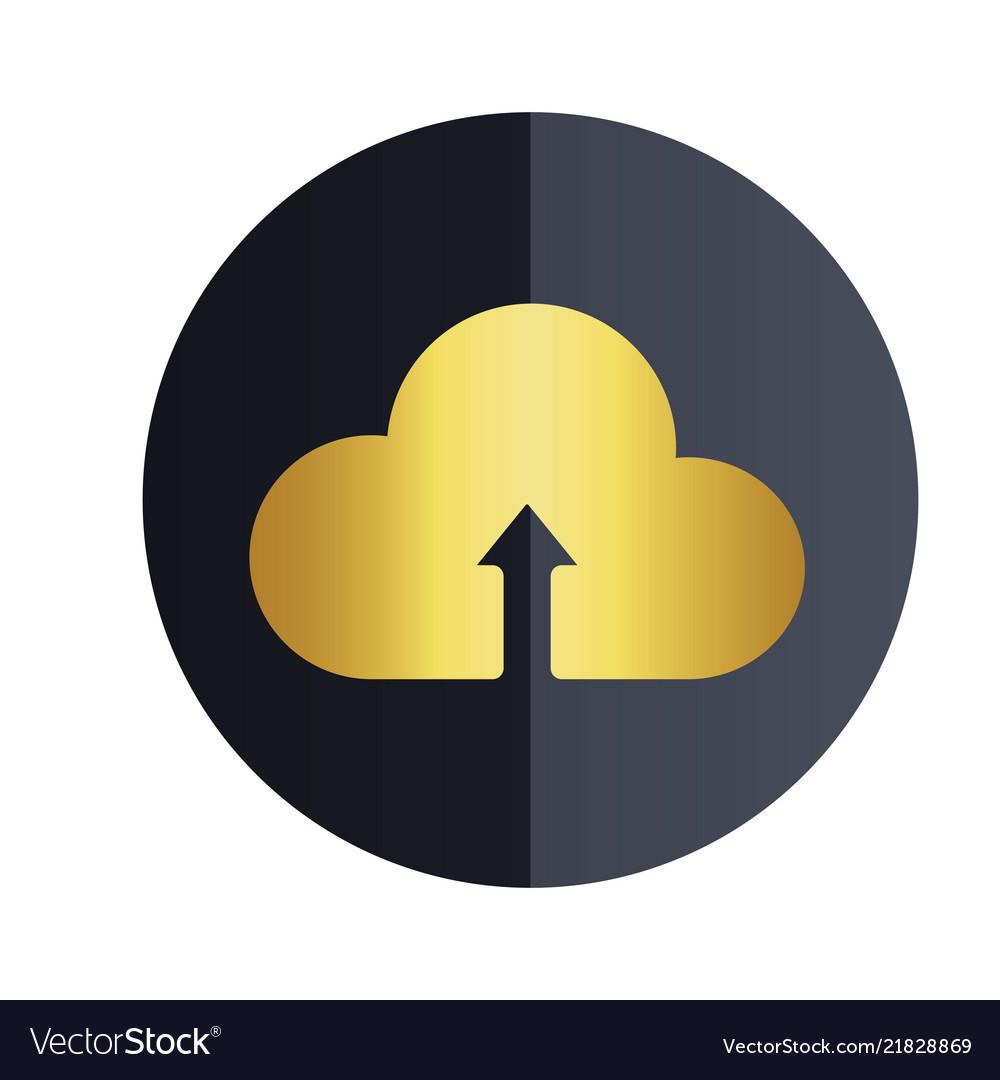 Upload on cloud icon black circle background