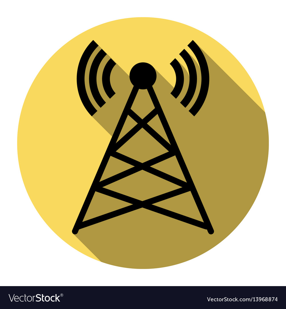 Antenna sign flat black icon vector image