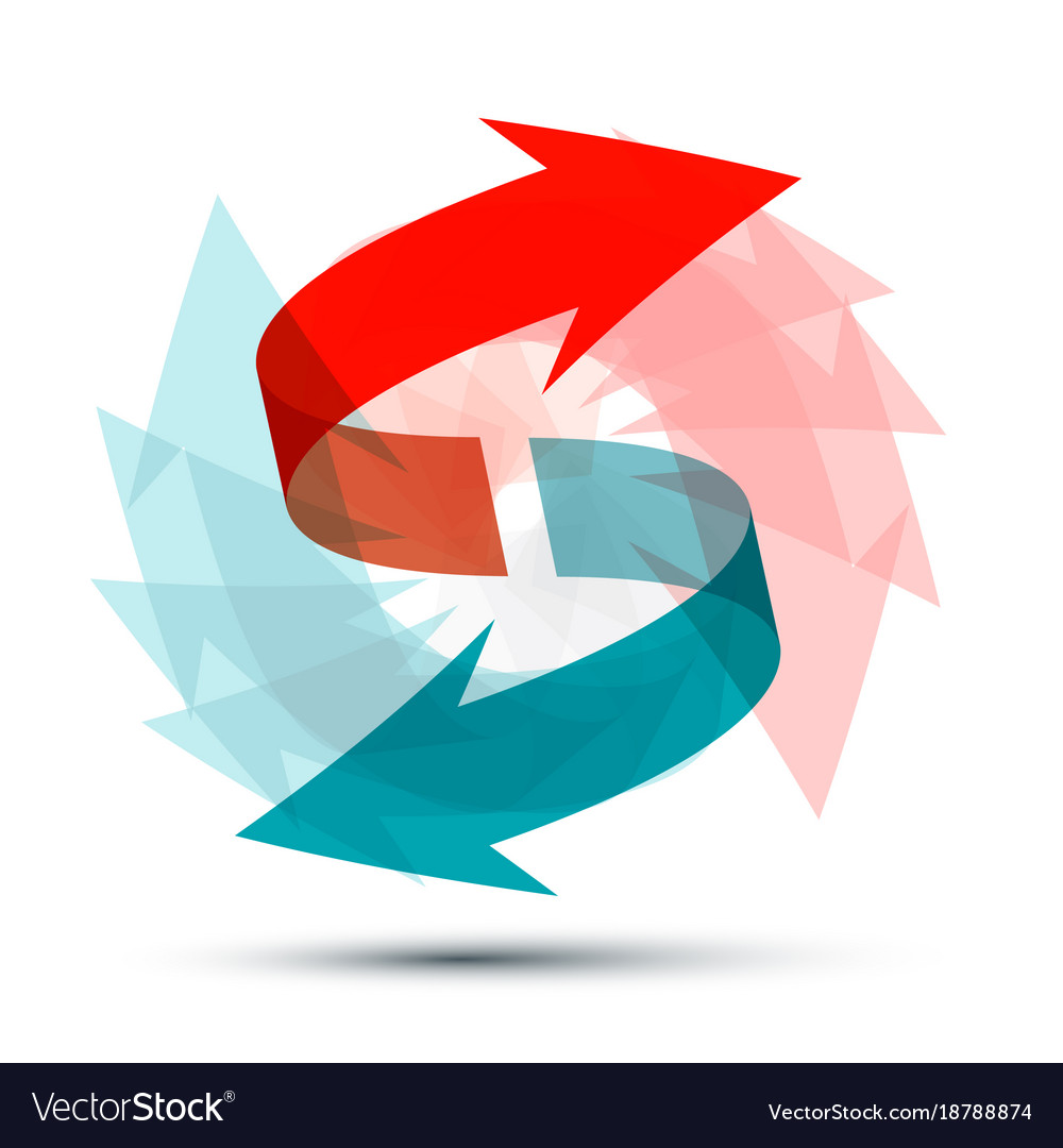 Arrows Spinning Around Double Arrow Symbol Vector Image
