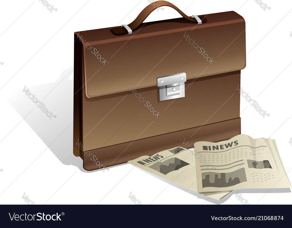 Brown man briefcase and newspaper on white