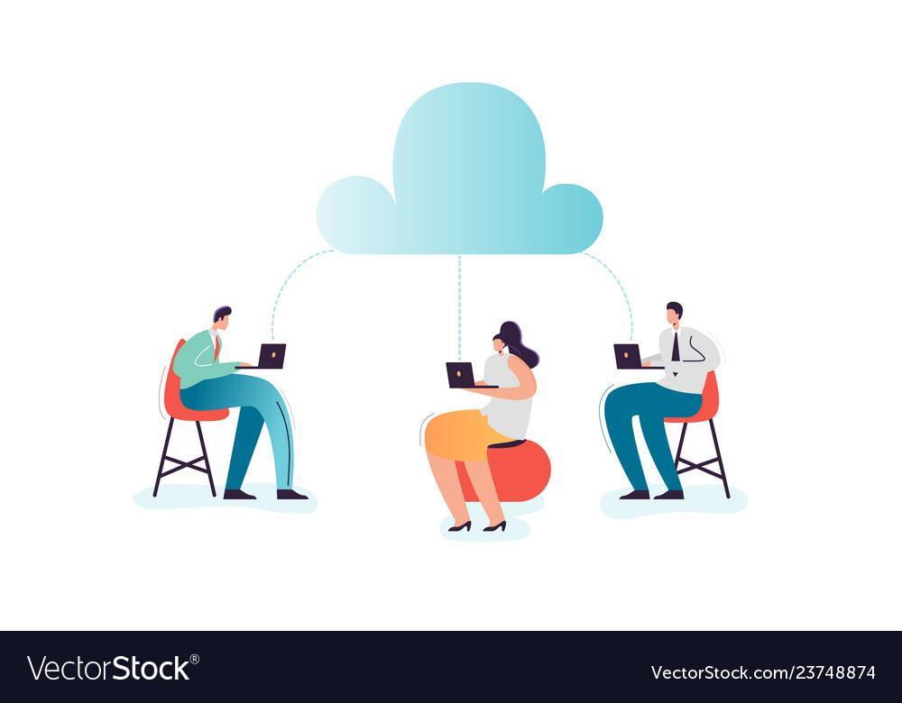 Cloud computing technology cartoon characters