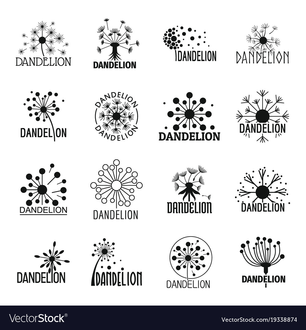 Dandelion Logo Icons Set Simple Style Royalty Free Vector