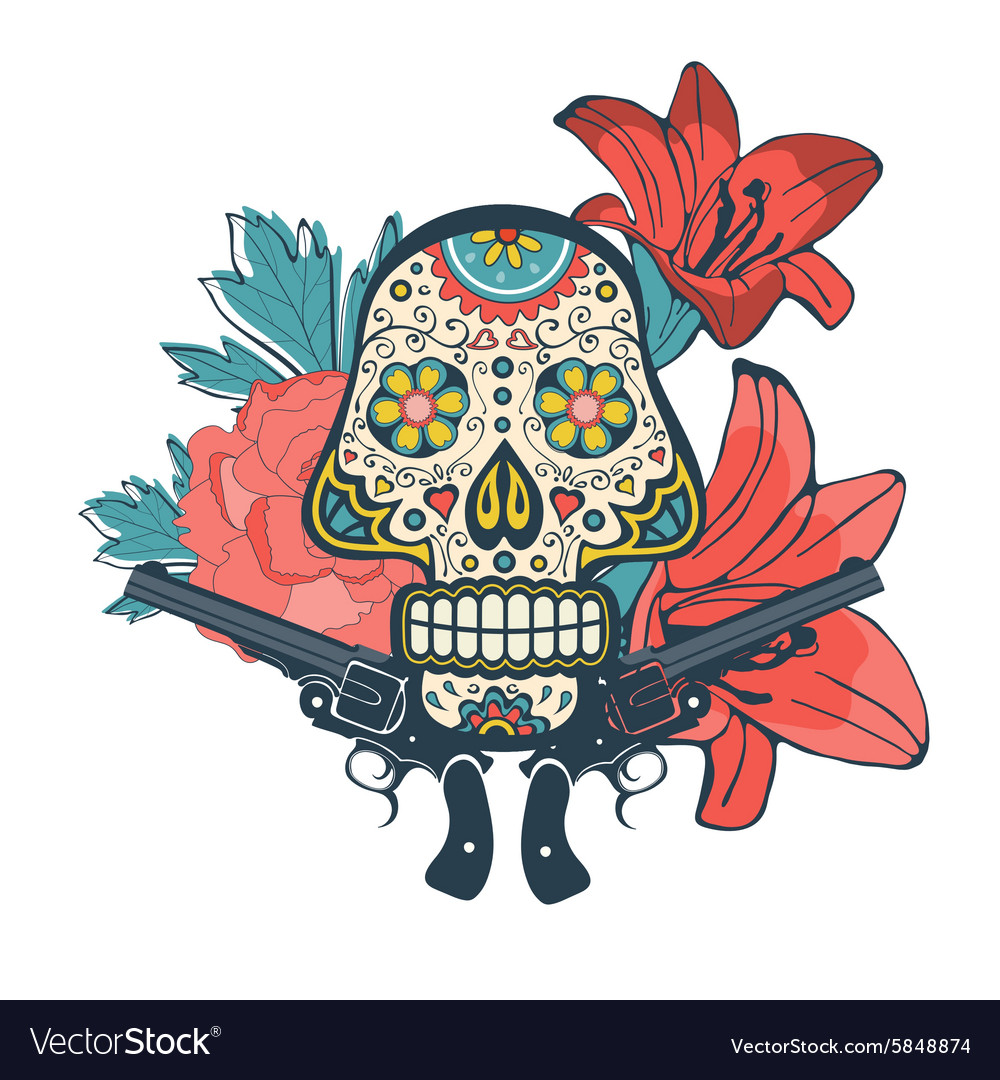 Day of the dead card with vintage skull flowers