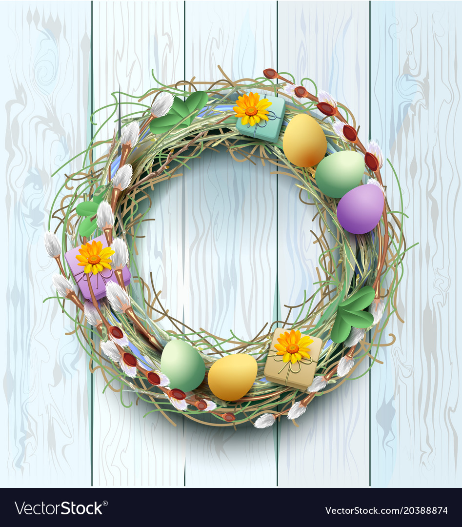 Easter wreath decoration branch of willow and
