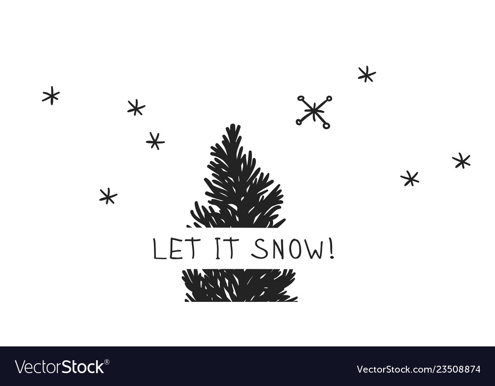 Hand drawn christmas tree on white background