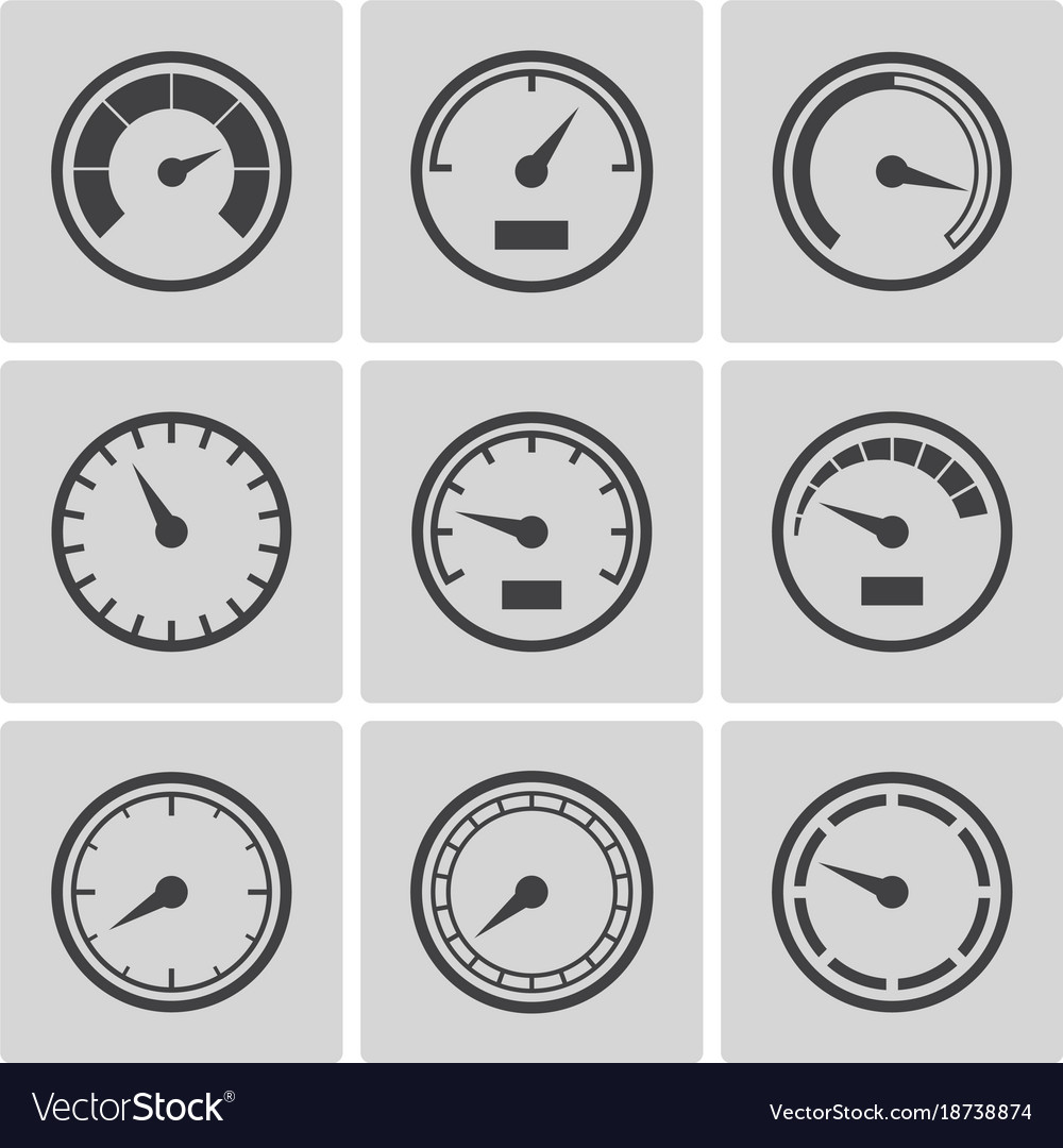 Meter icons flat style set