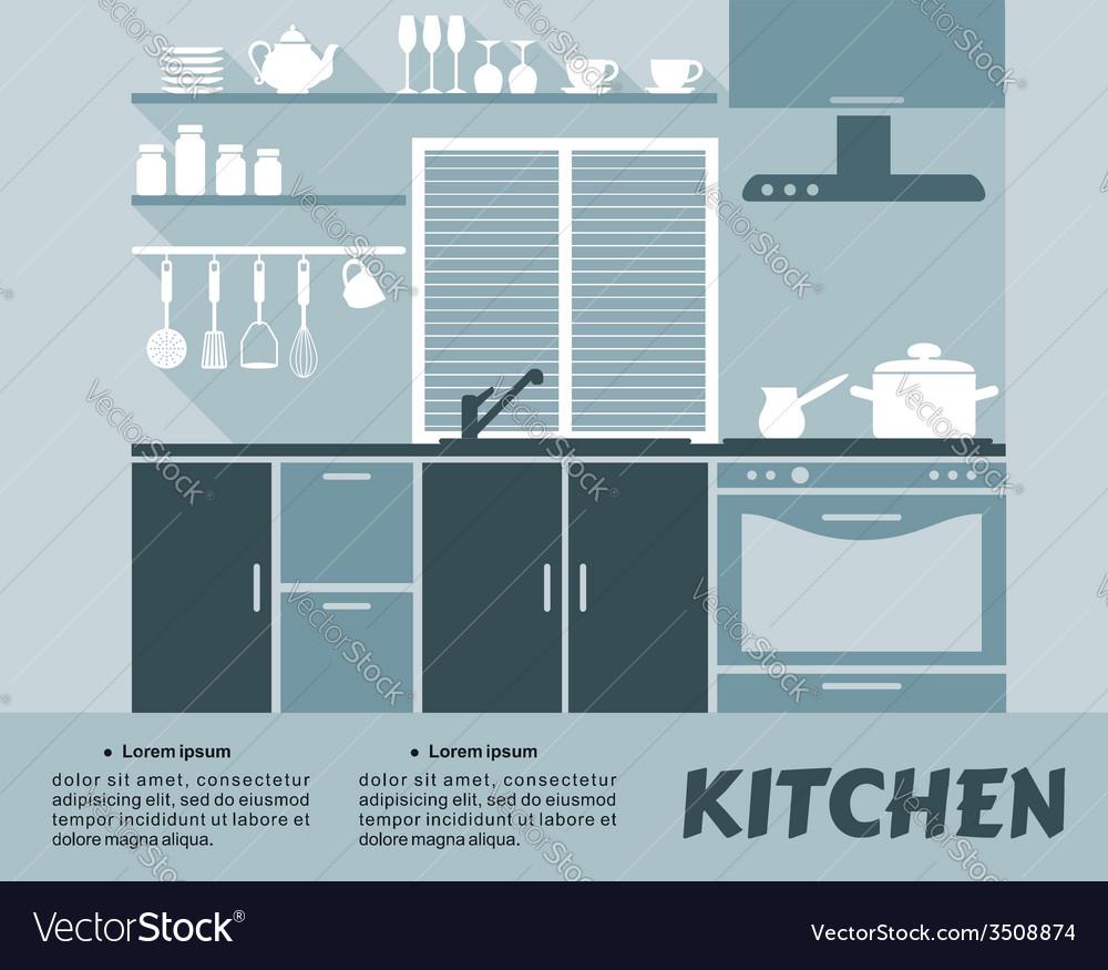 Modular kitchen interior in flat design Royalty Free Vector