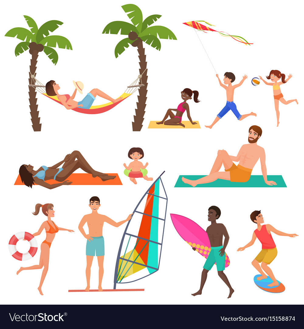 People on active sport vacation beach collection