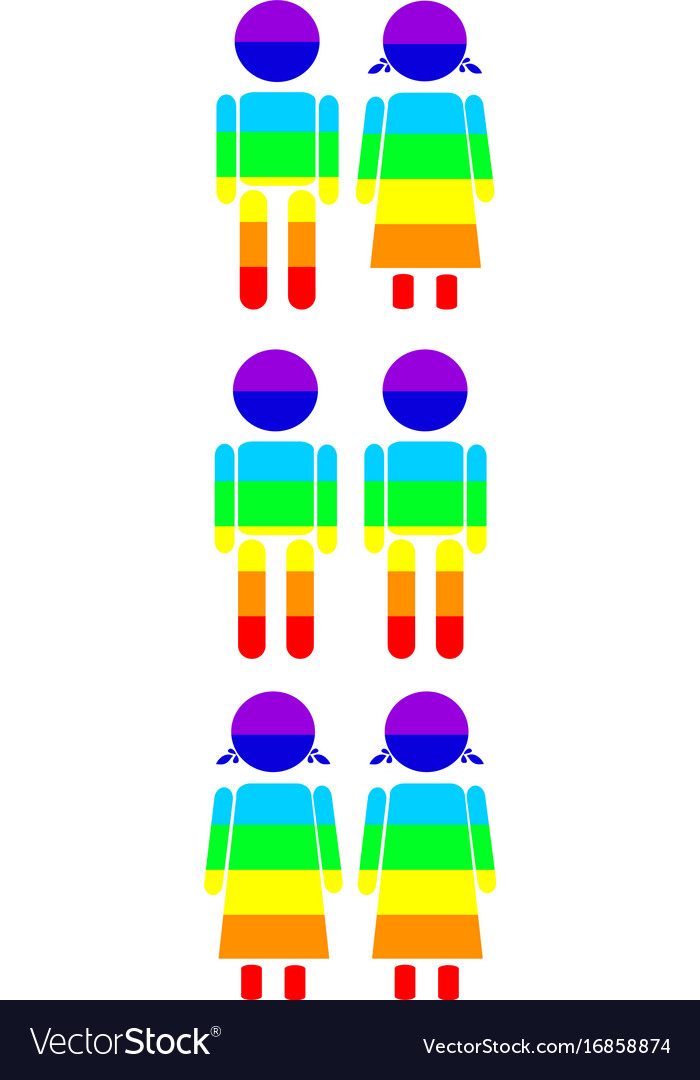 Rainbow gay couples icon set