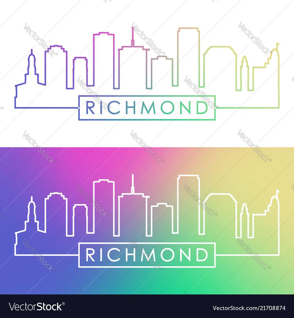 Richmond skyline colorful linear style editable