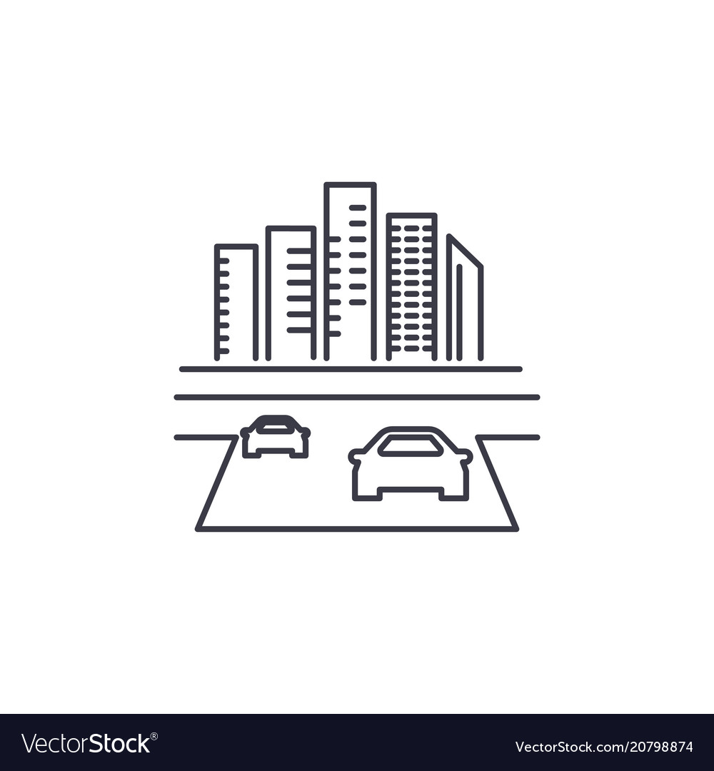 Road to the city line icon sign vector image