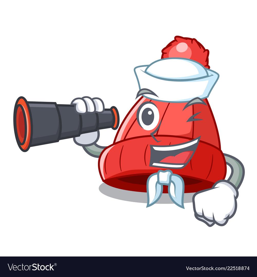 Sailor with binocular photo of a cartoon woolen