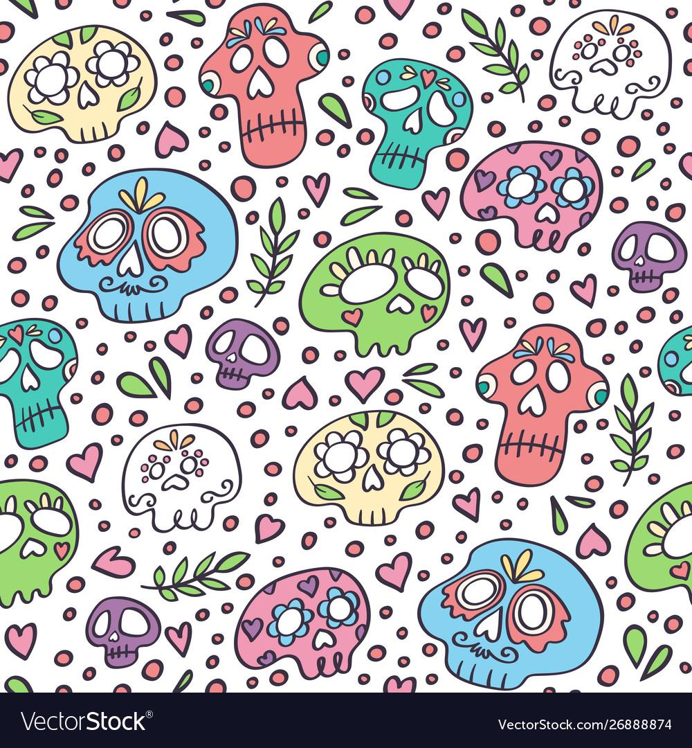 Skull pattern day dead background