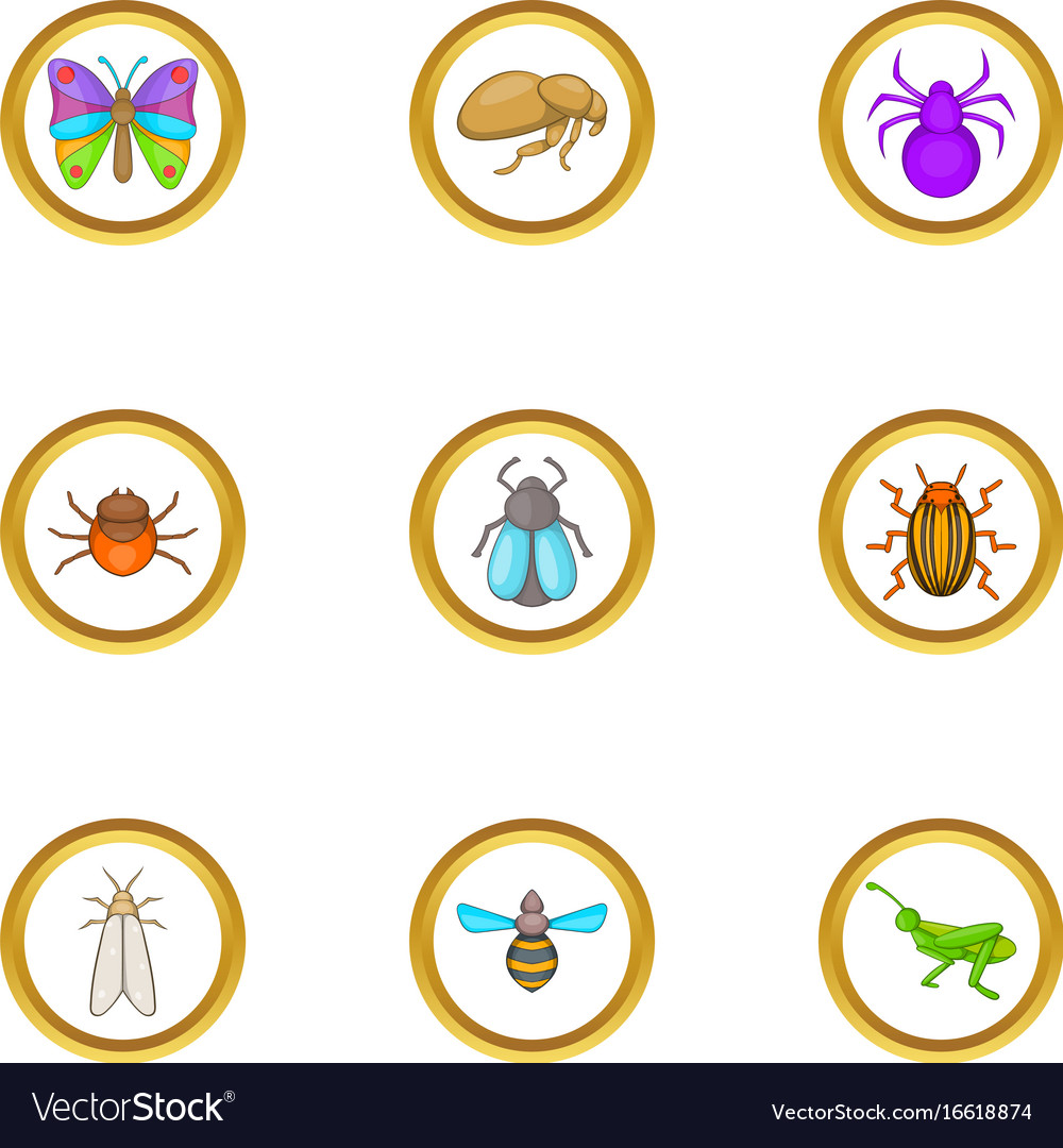 Types of insects icons set cartoon style