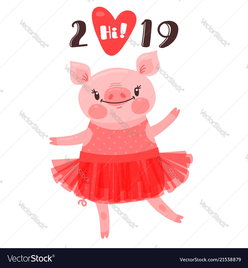 2019 happy new year card design symbol of the