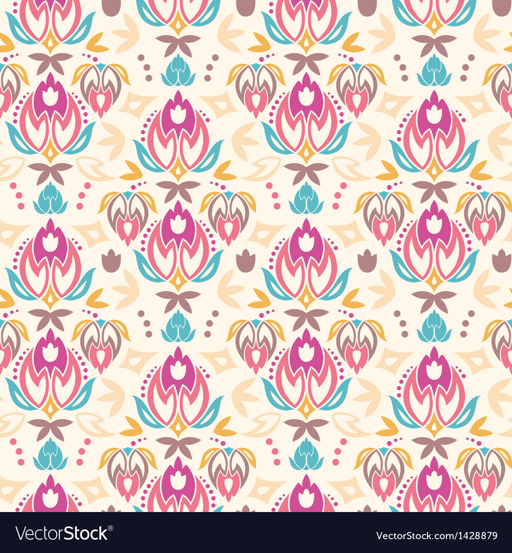 Abstract damask tulips seamless pattern background vector image