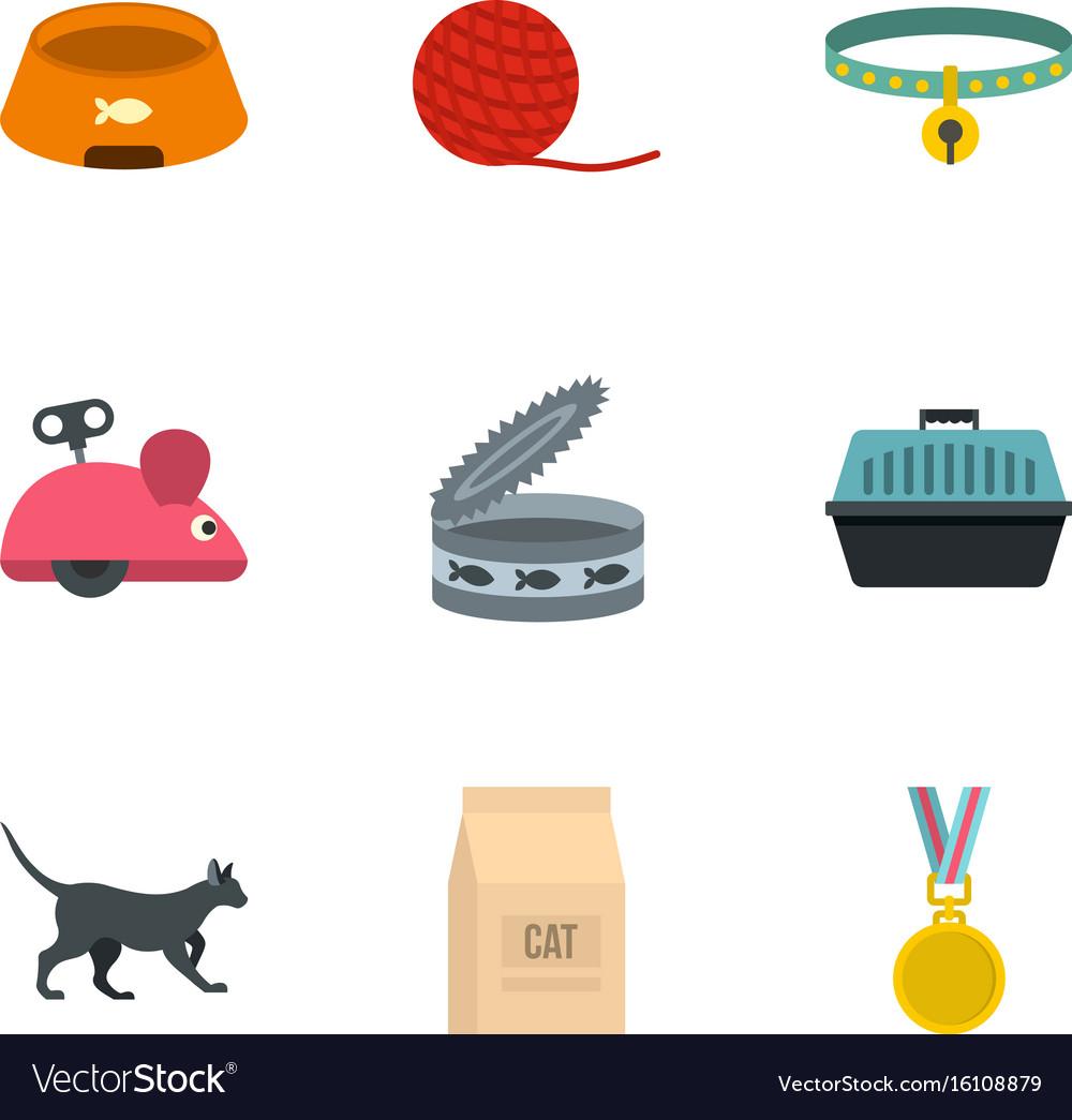 Cat equipment set flat style vector image