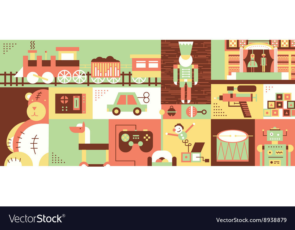 Children toys abstract background flat