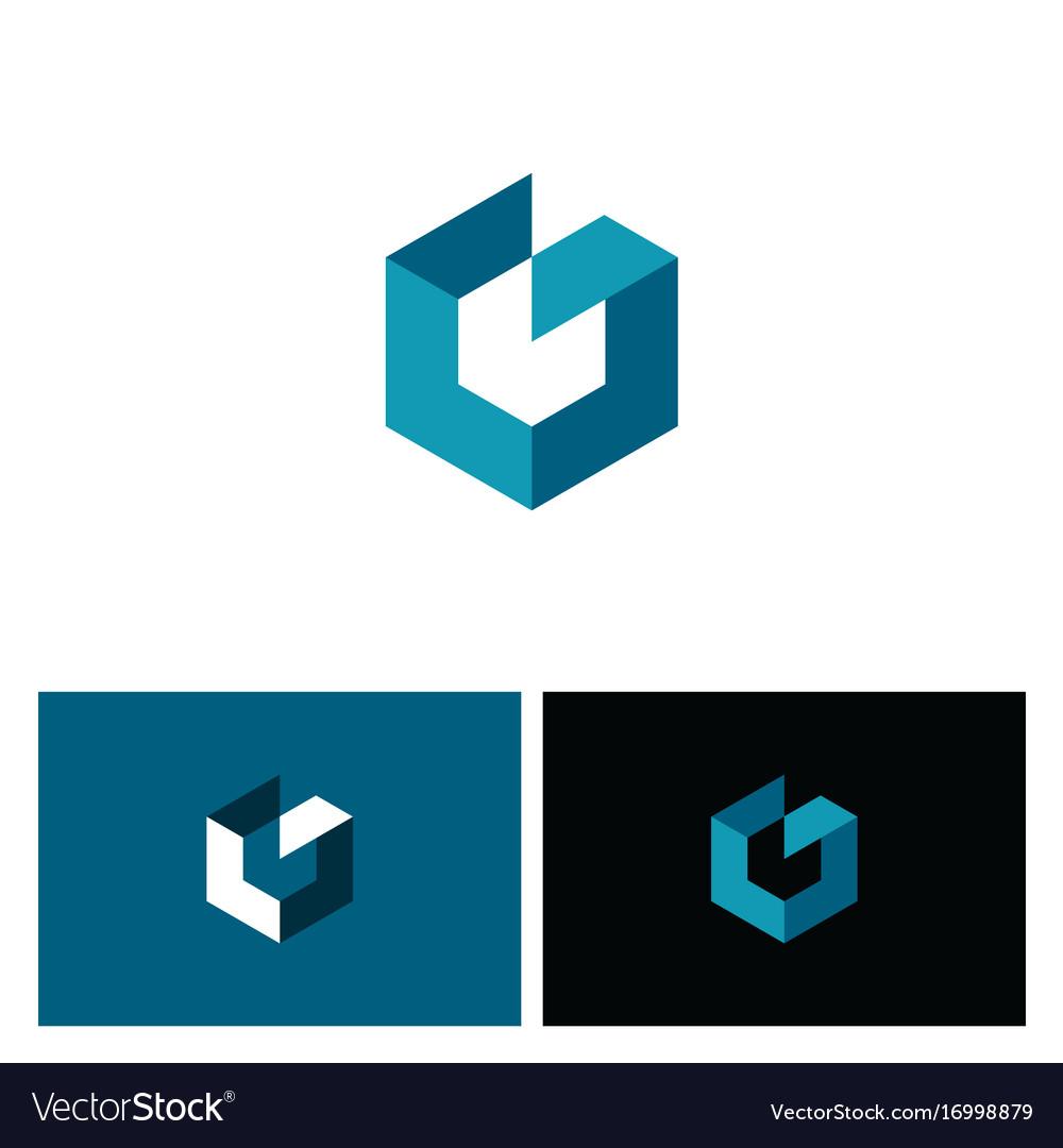 Cube 3d shape polygon logo