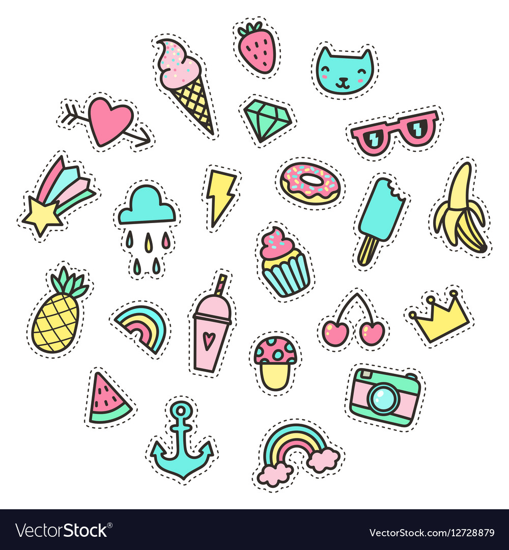 Cute Funny Small Objects Food Symbols Etc Vector Image