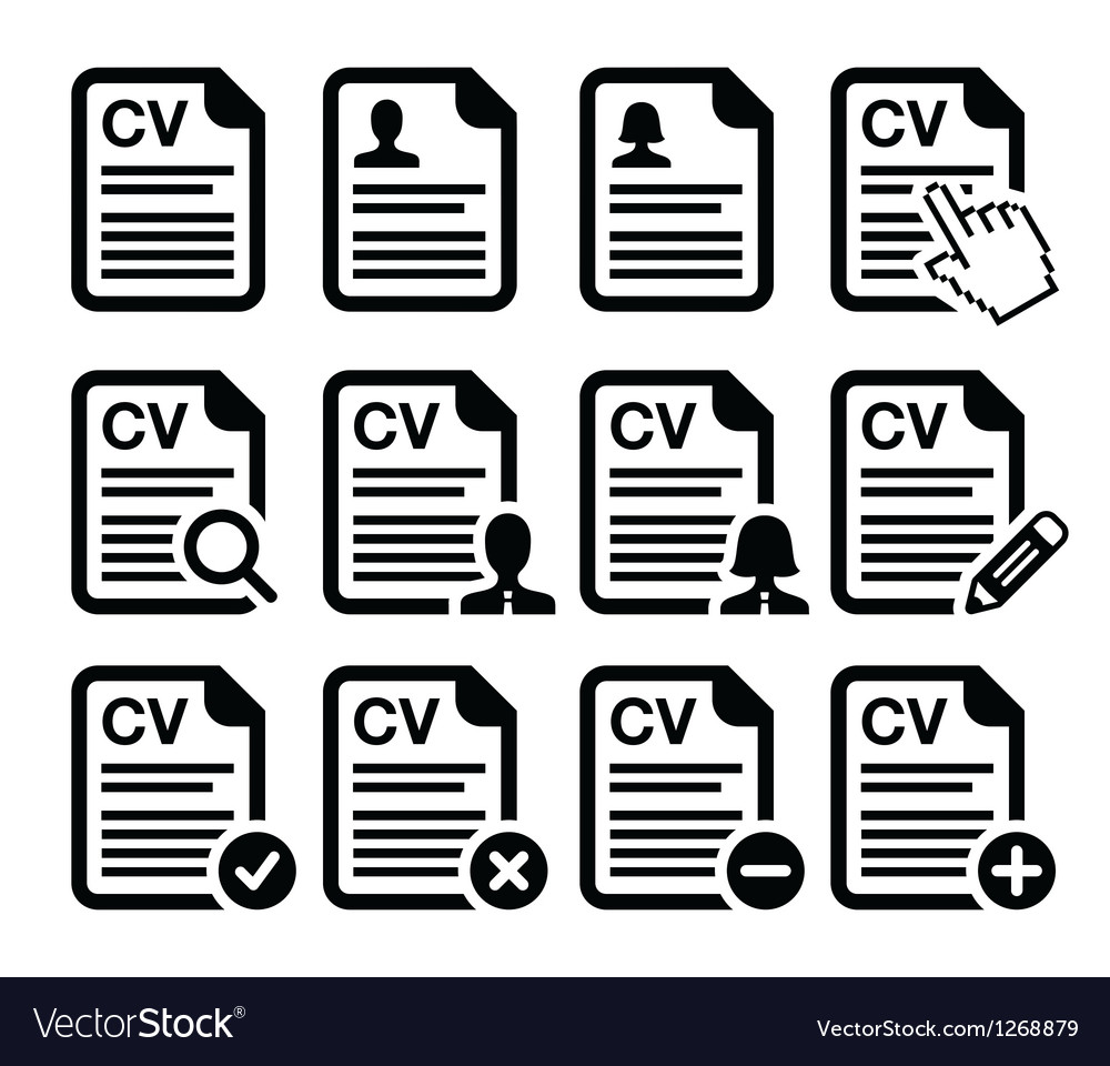 cv curriculum vitae resume icons set royalty free vector