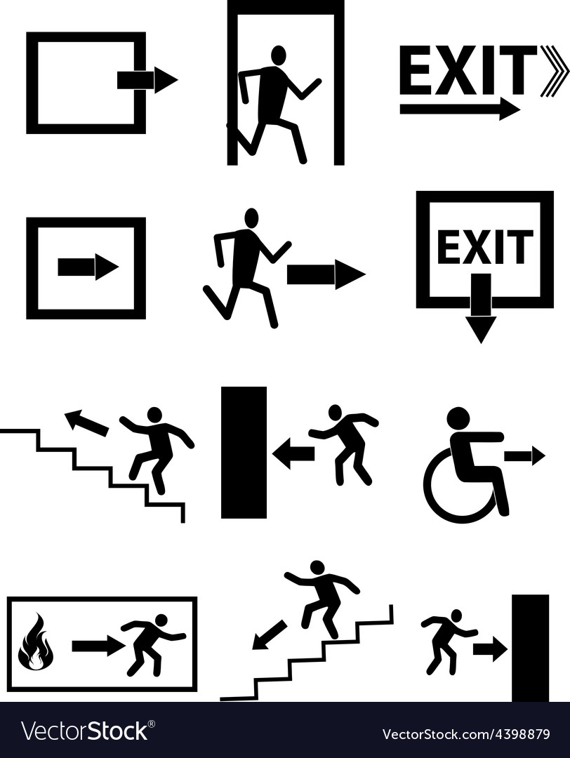 Exit sign icons set