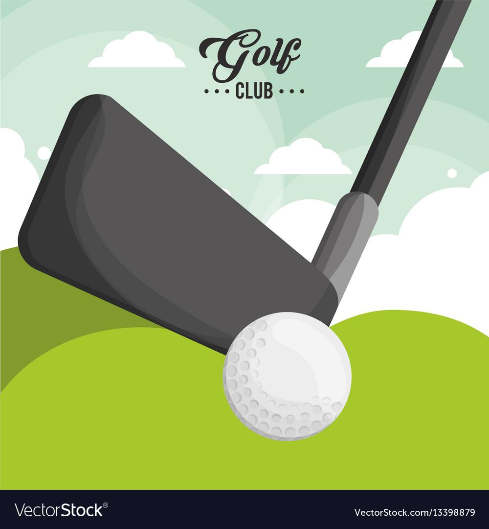 Golf club ball poster vector image