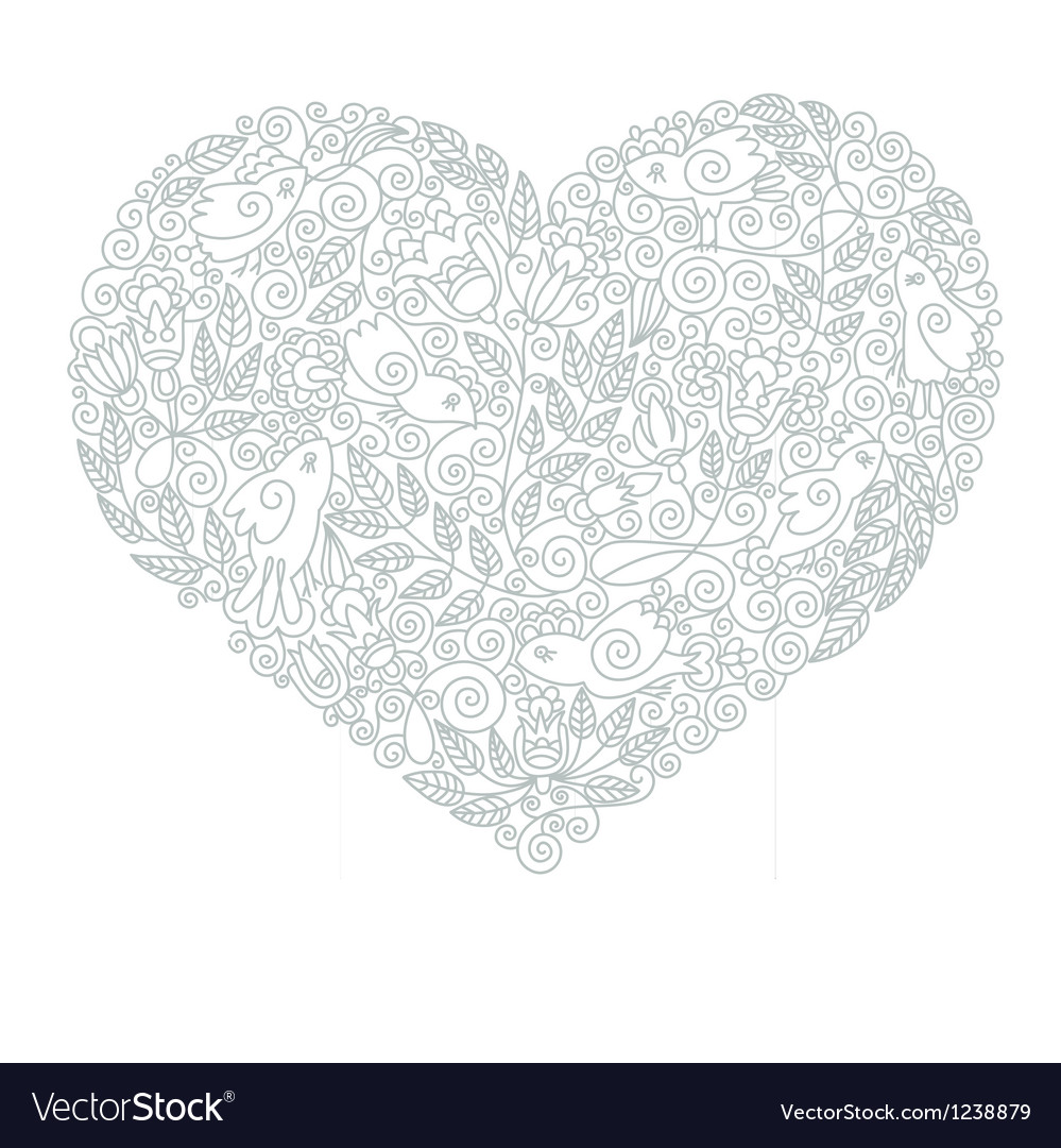 Hand draw ornate floral heart shape