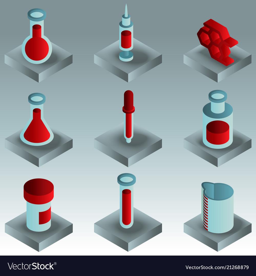 Laboratory color gradient isometric icons