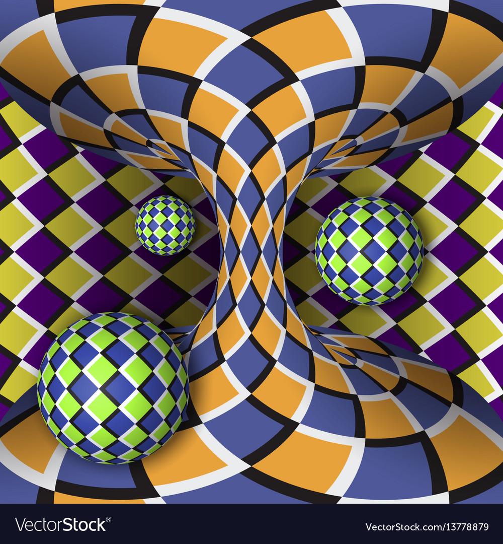 Optical rotation three balls around a