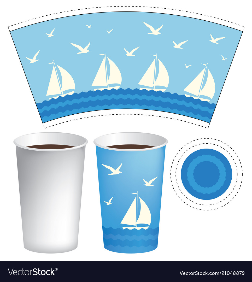 paper cup template with sailboats in the sea vector image