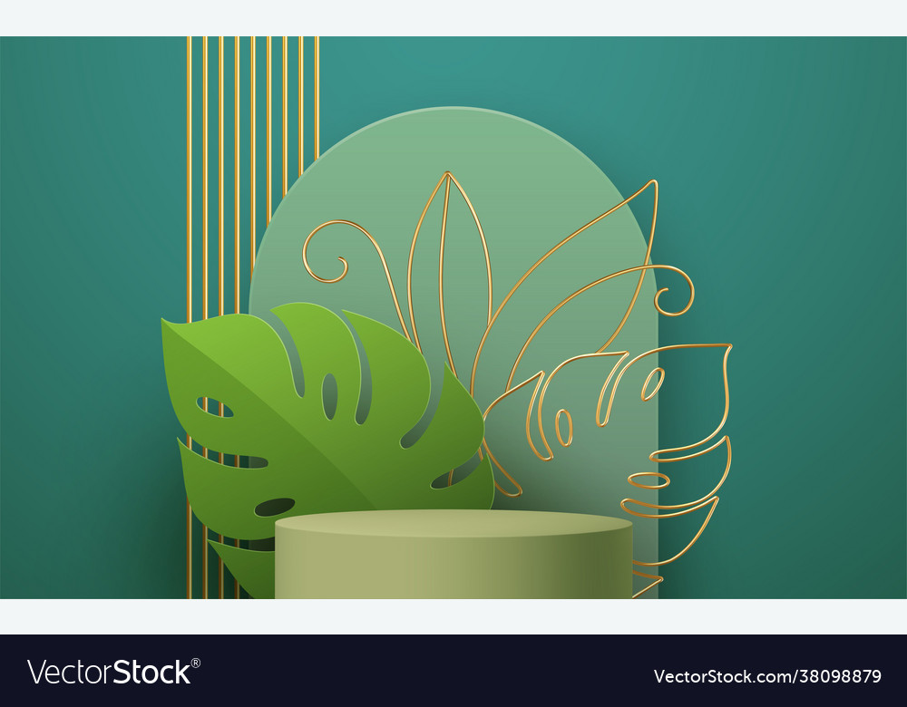 Product podium with golden monstera leaf line art
