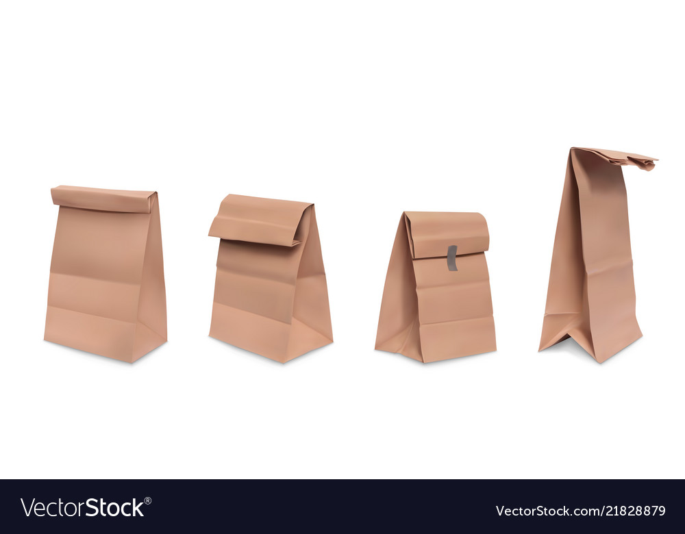 Realistic set brown paper grocery bags