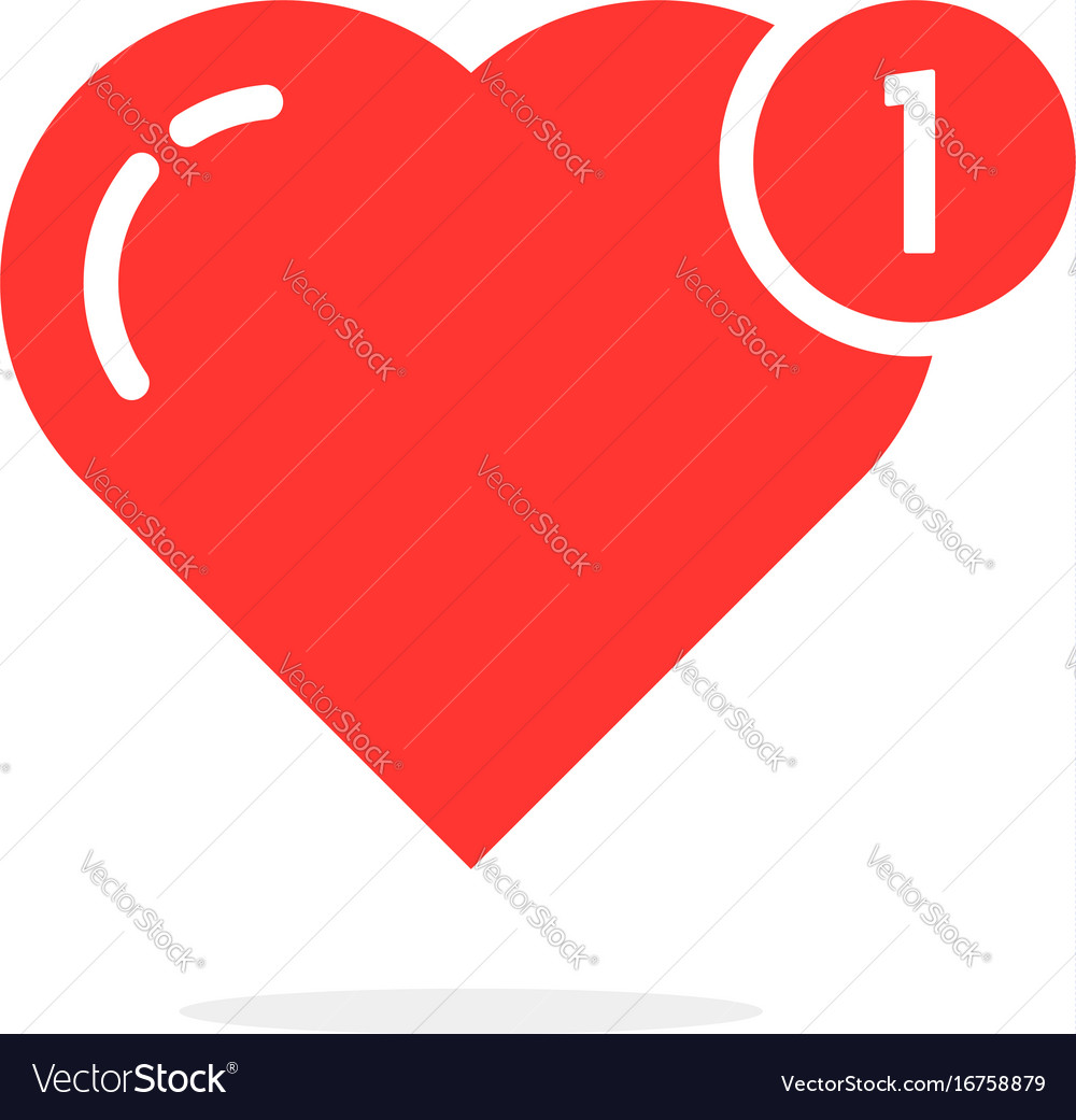 Red simple heart like notification