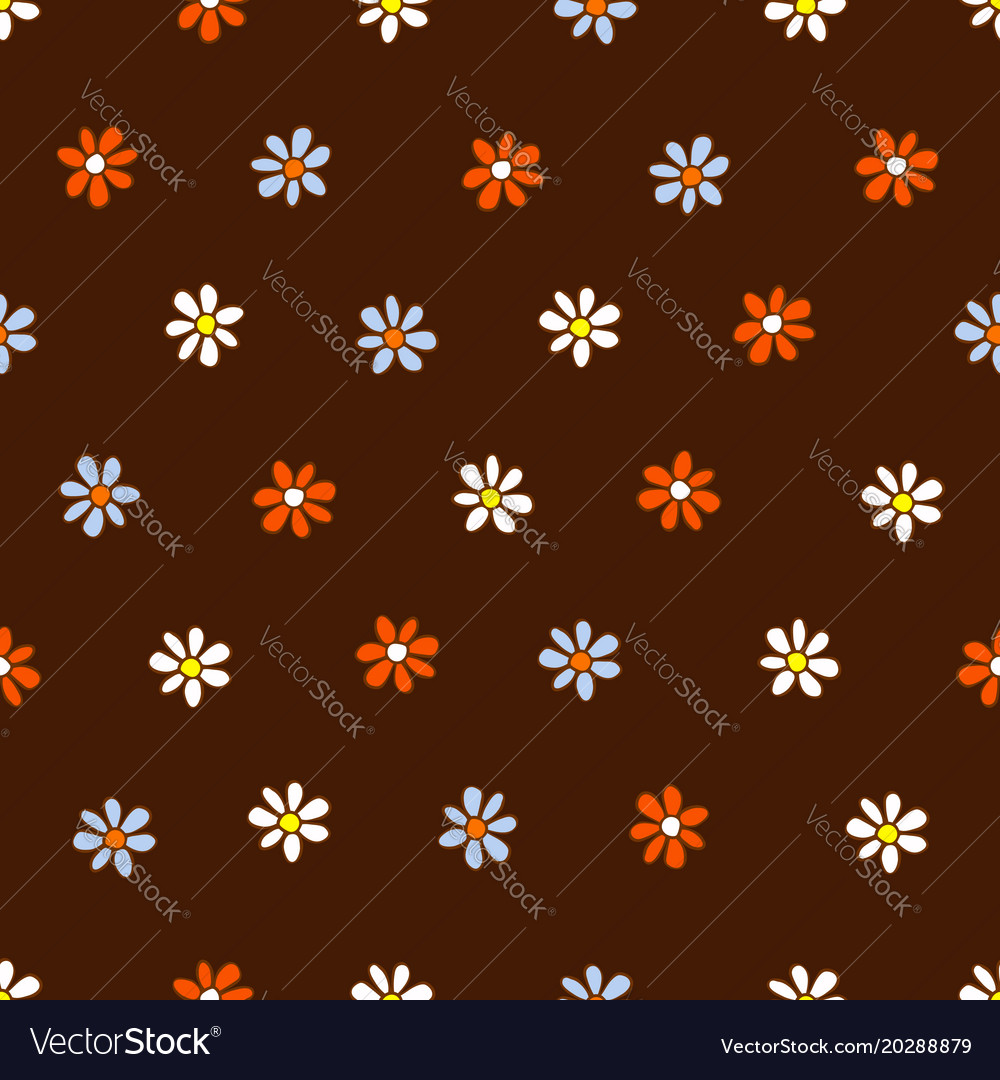Seamless pattern of white blue and orange flowers
