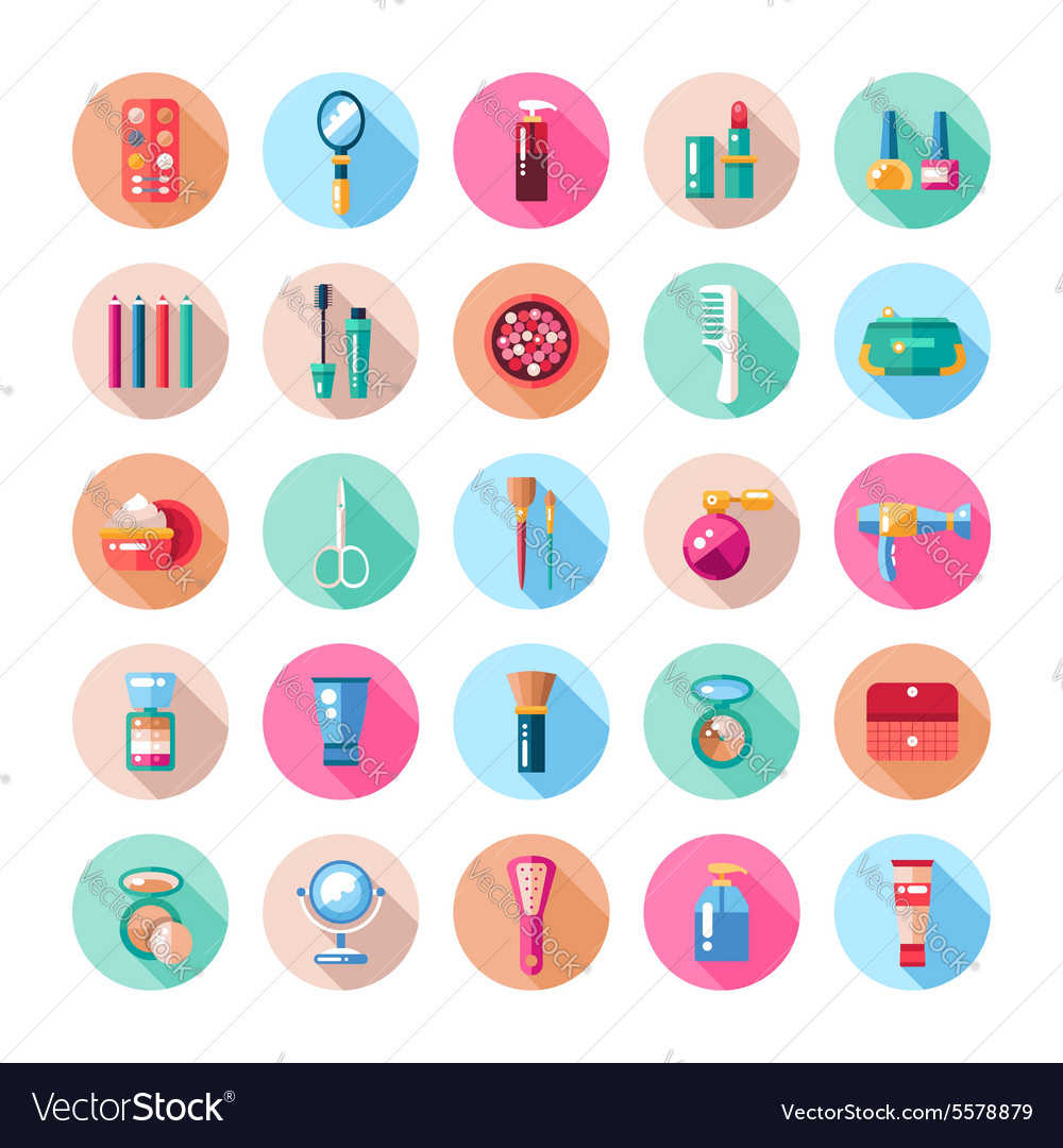 Set of flat design cosmetics make up icons and