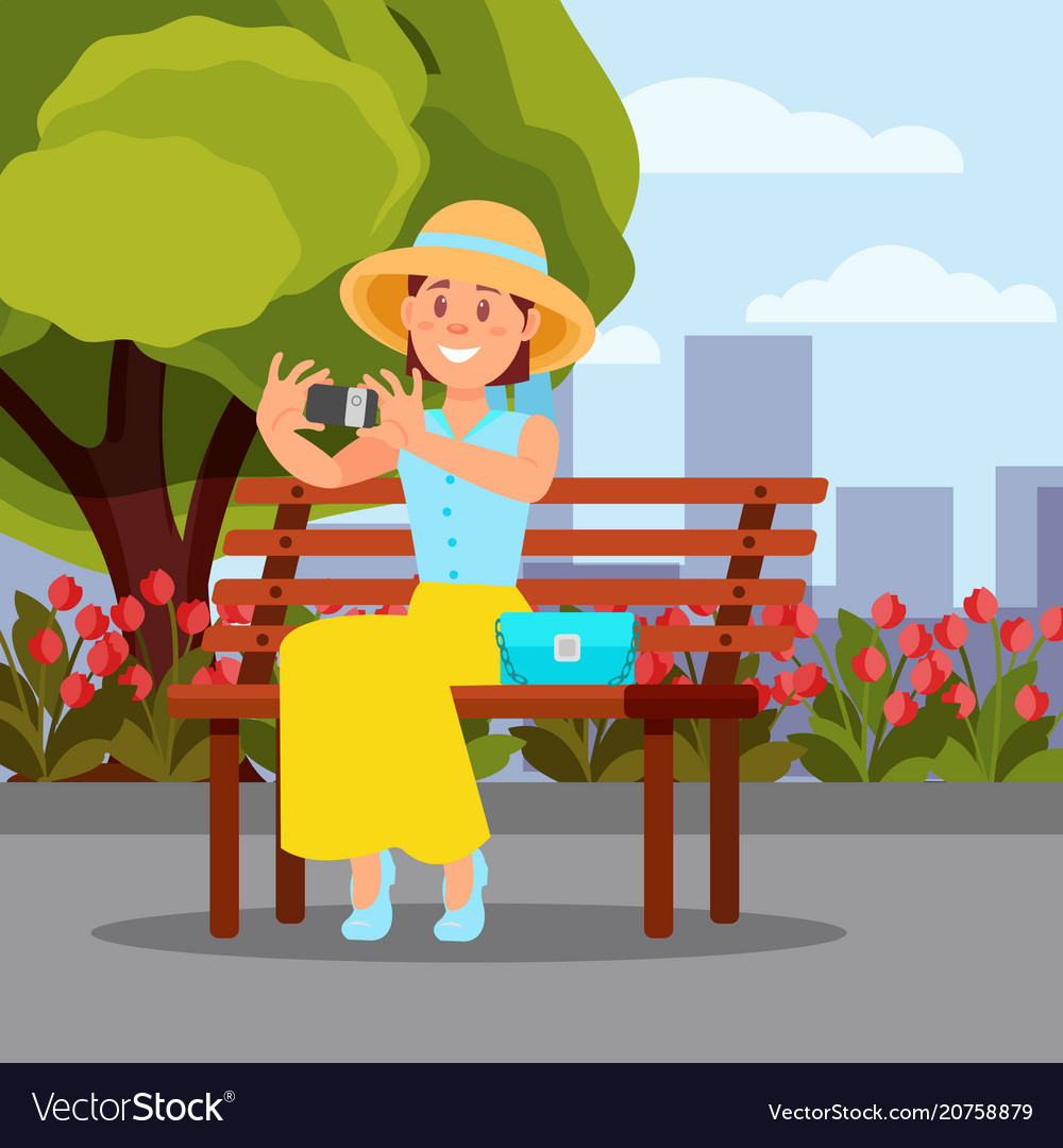 Brilliant Smiling Woman Sitting On Wooden Bench And Making Ocoug Best Dining Table And Chair Ideas Images Ocougorg