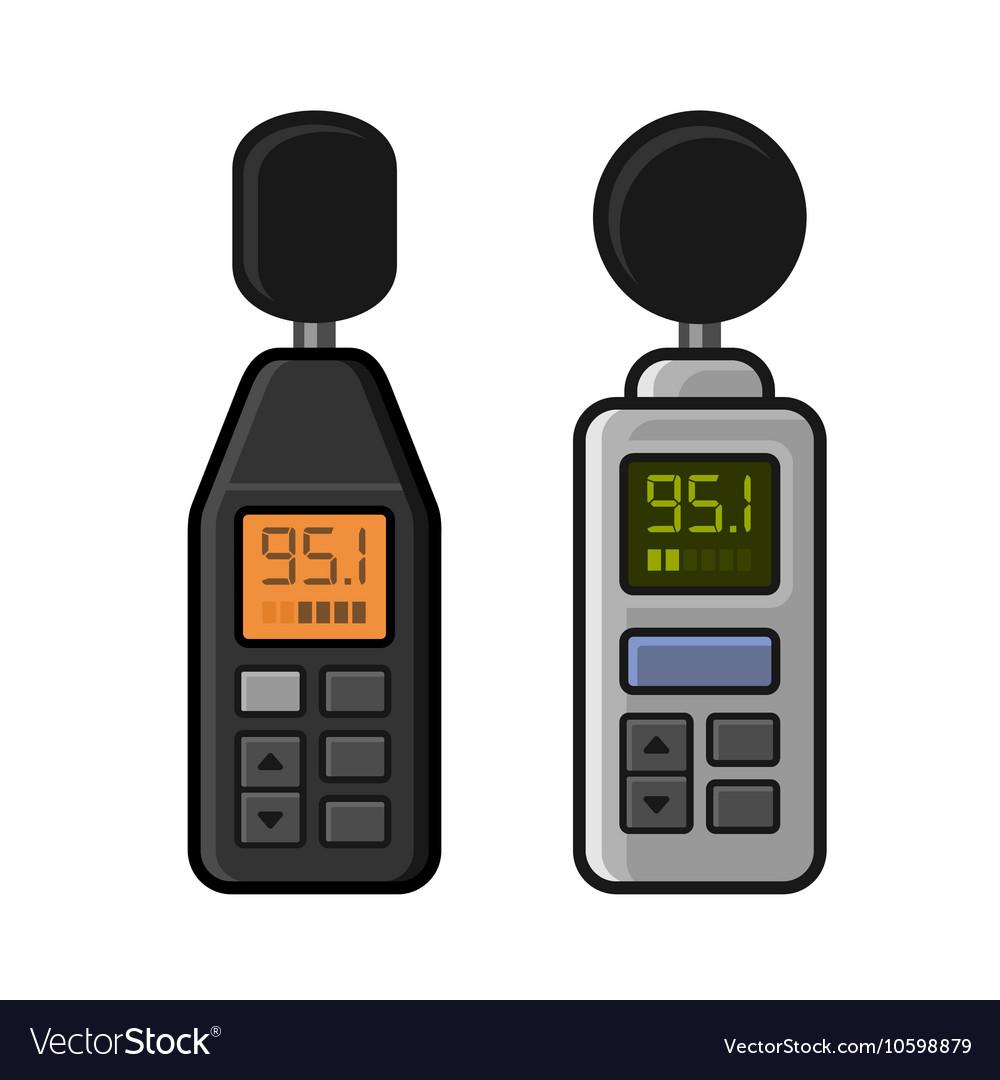 Sound Level Meter Set on White Background