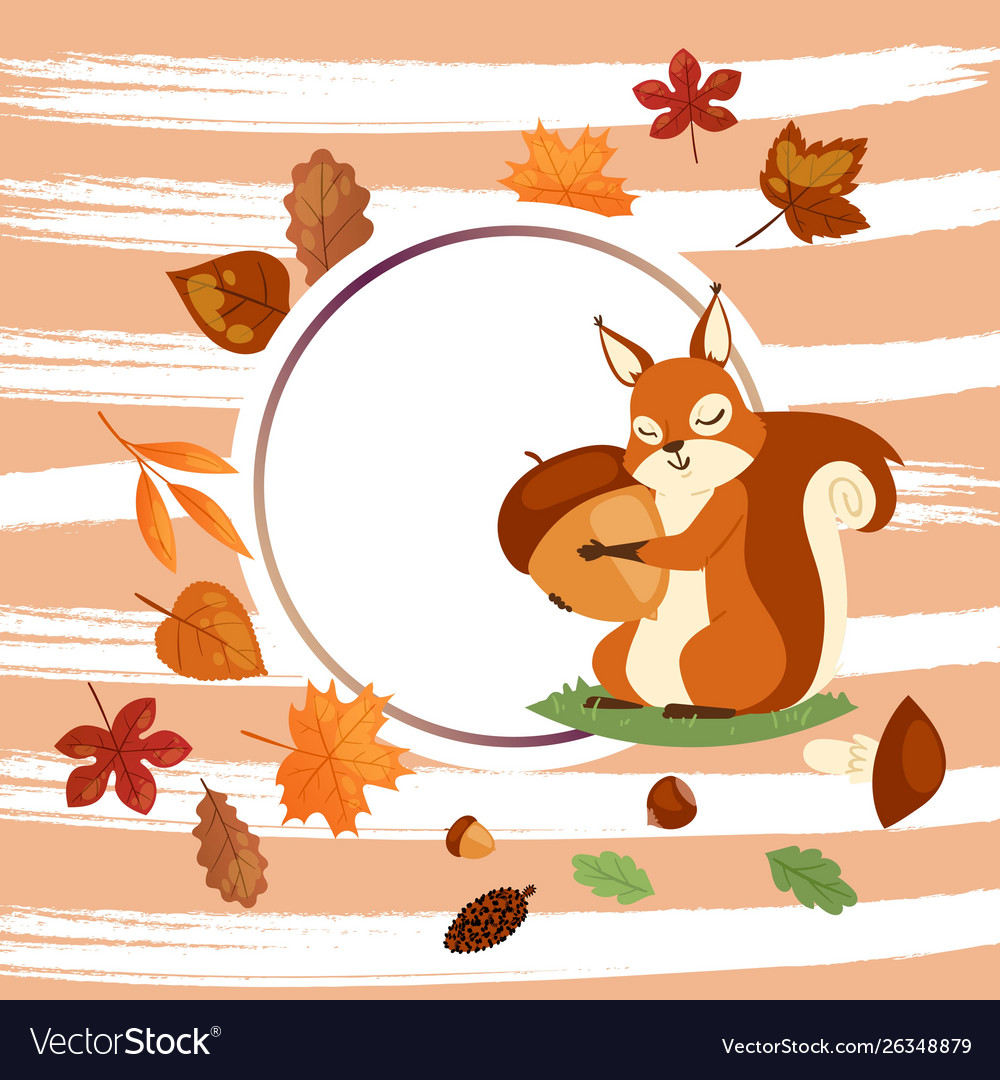 Squirrel hugging acorn and standing on grass in