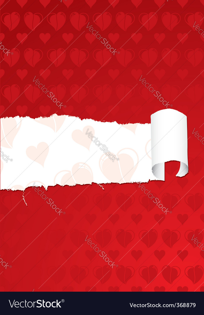Torn valentines day paper vector image