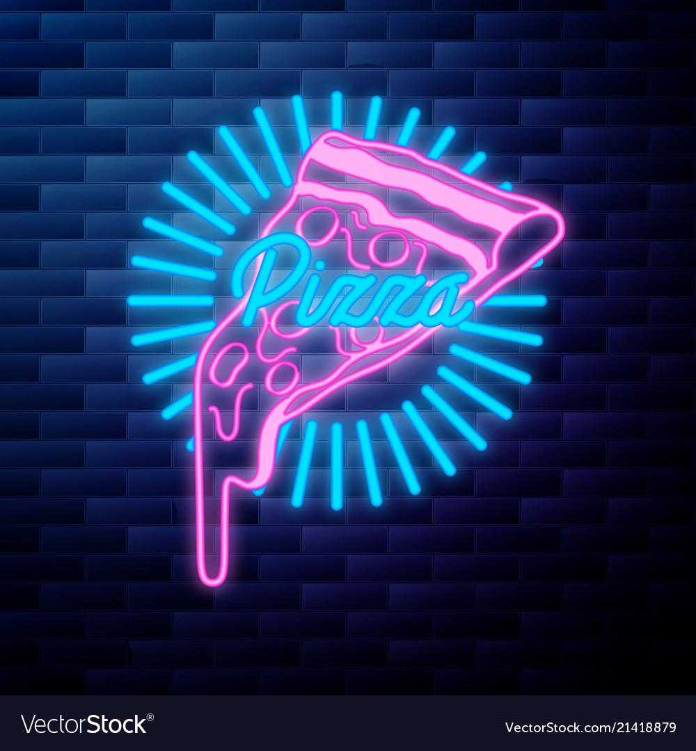 Vintage pizza emblem glowing neon