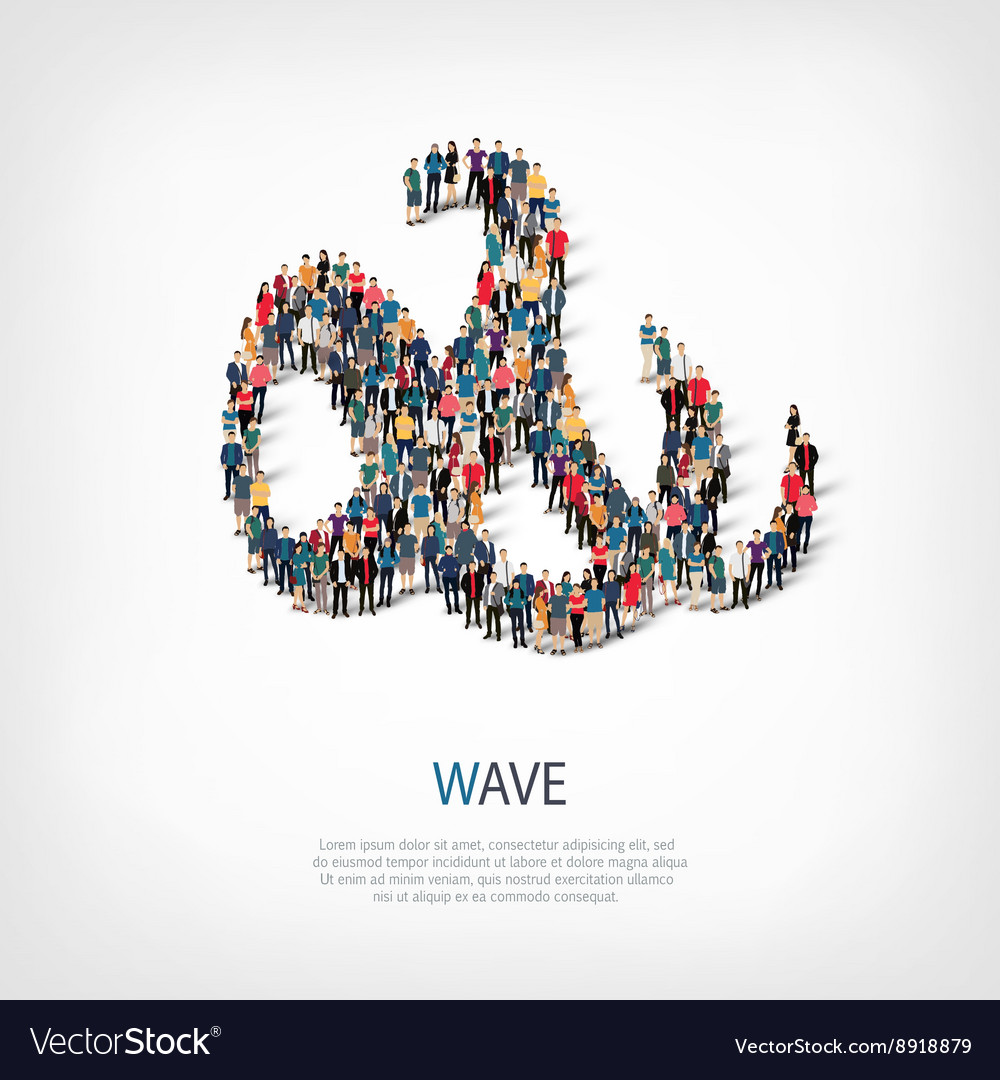 Wave people sign 3d