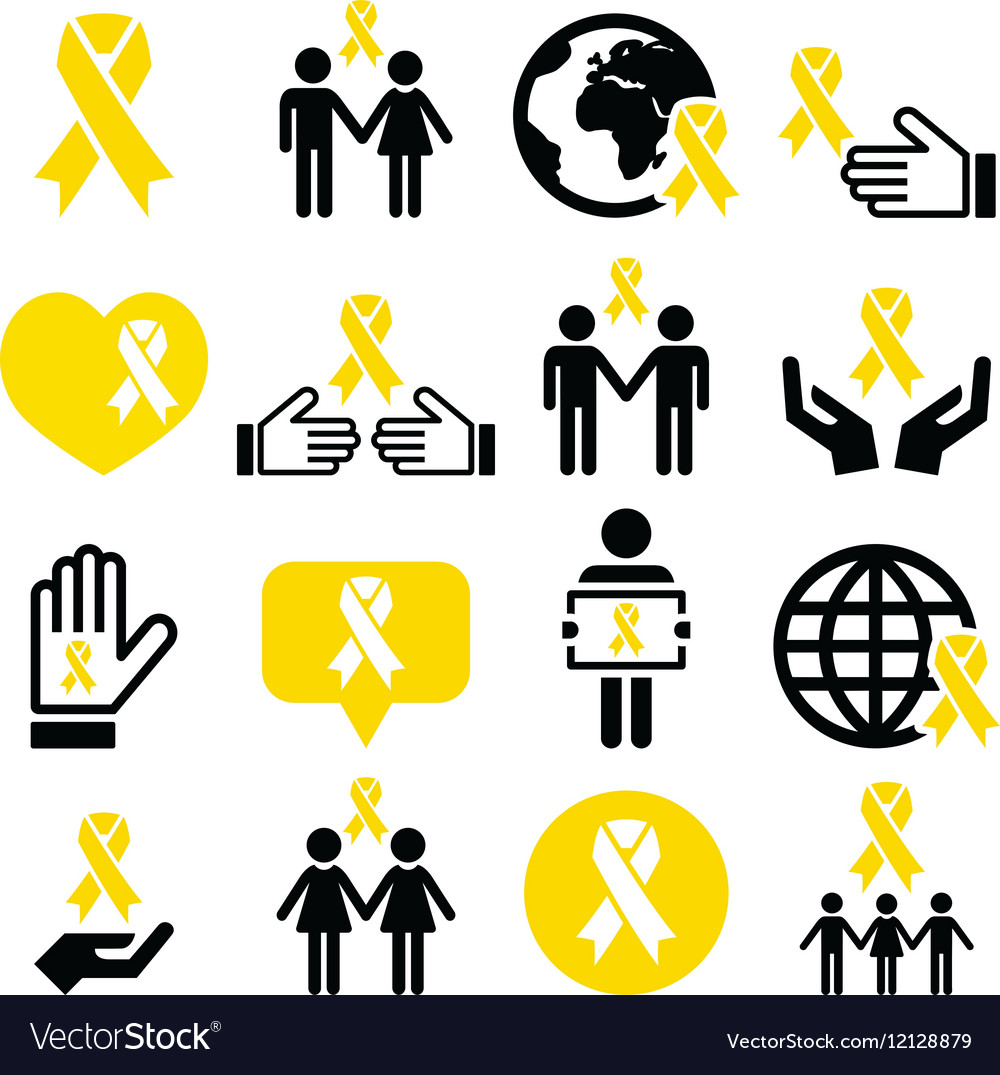 Yellow ribbon icons - suicide prevention support vector image