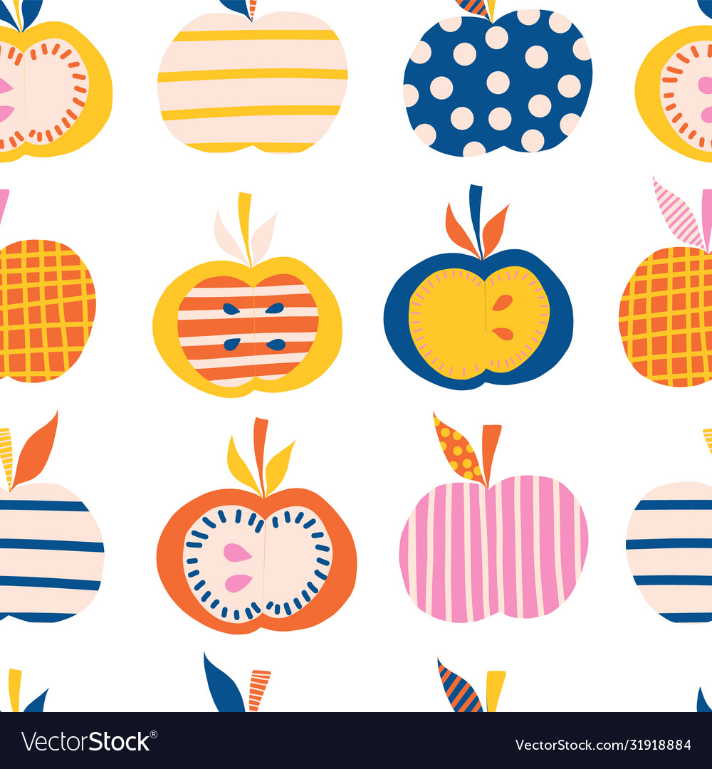 Apples seamless pattern cute abstract