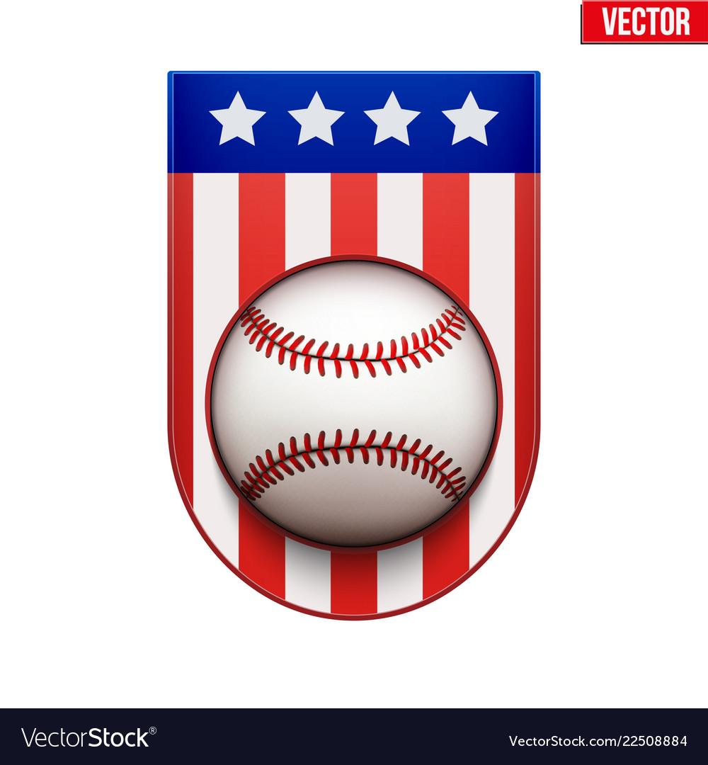 Baseball badge and label with usa flag